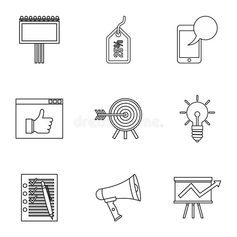 I tipi di icone di pubblicità fissano, descrivono lo stile illustrazione vettoriale