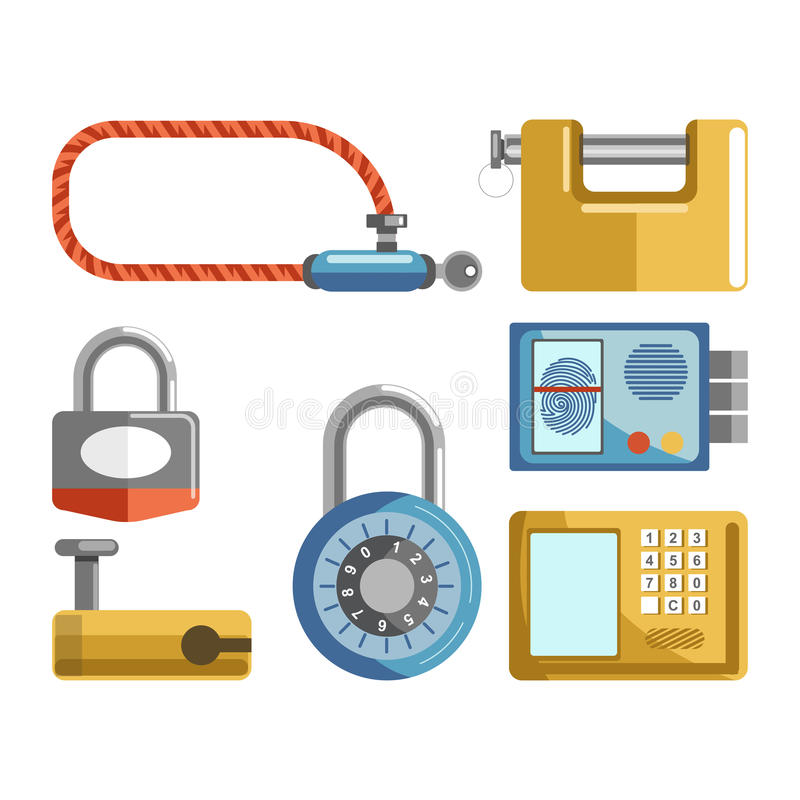 I tipi differenti delle serrature di porta, i fermi del lucchetto o le chiavi electonic vector le icone piane illustrazione vettoriale