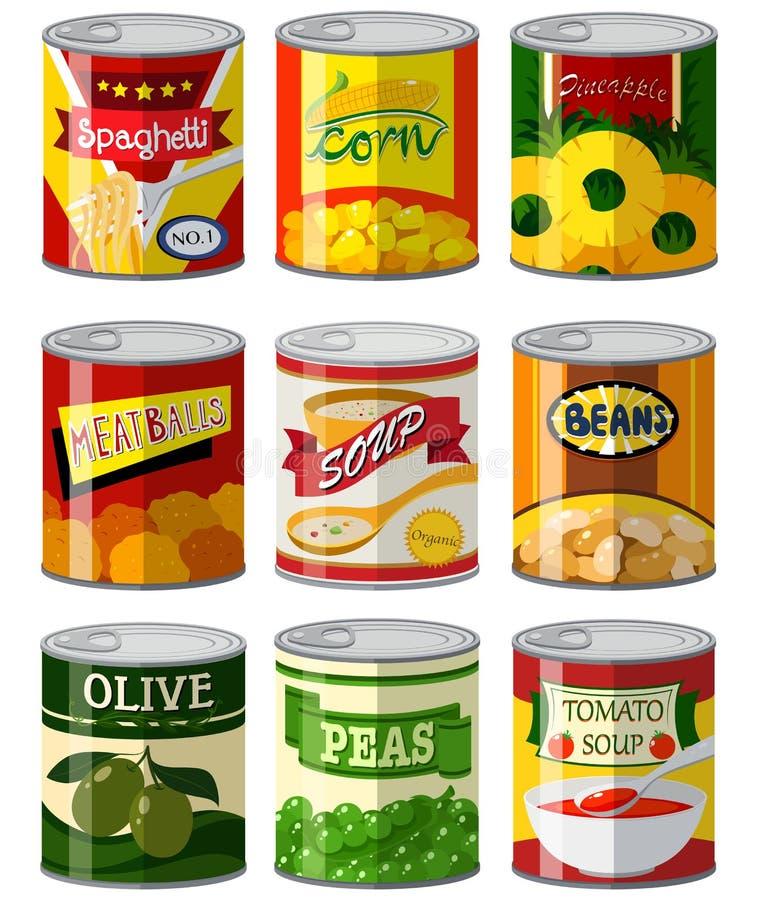 I tipi differenti di alimenti dentro possono illustrazione vettoriale