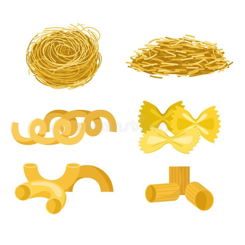 I tipi differenti di maccheroni dell'alimento biologico delle tagliatelle di riso del cereale del grano intero della pasta ingial illustrazione vettoriale