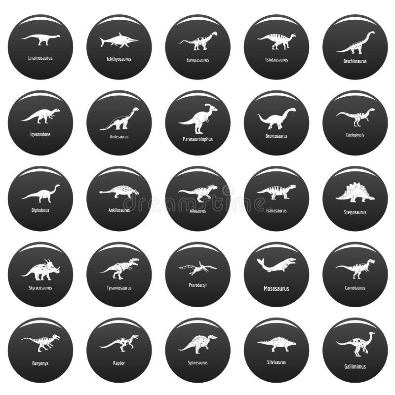 I tipi icone firmate del dinosauro di nome hanno fissato il nero di vetor royalty illustrazione gratis