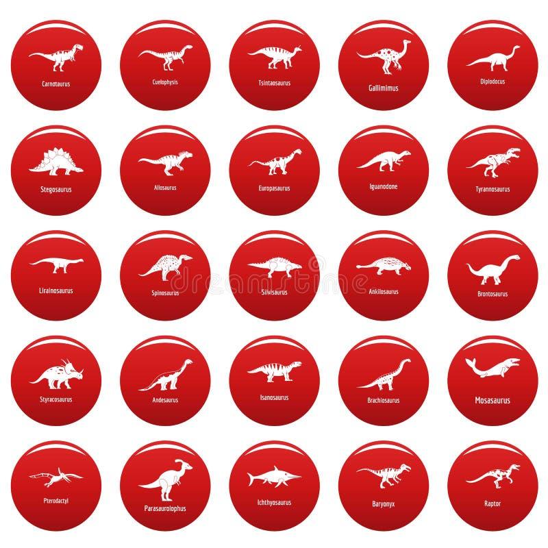 I tipi icone firmate del dinosauro di nome hanno messo il vetor rosso royalty illustrazione gratis