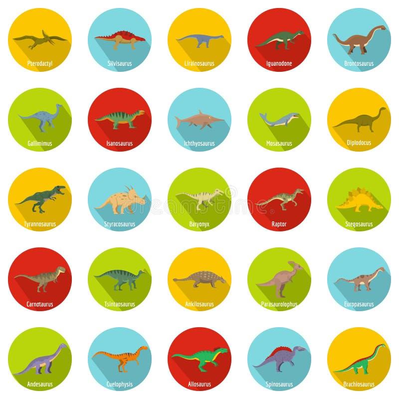 I tipi icone firmate del dinosauro di nome hanno messo, stile piano illustrazione di stock