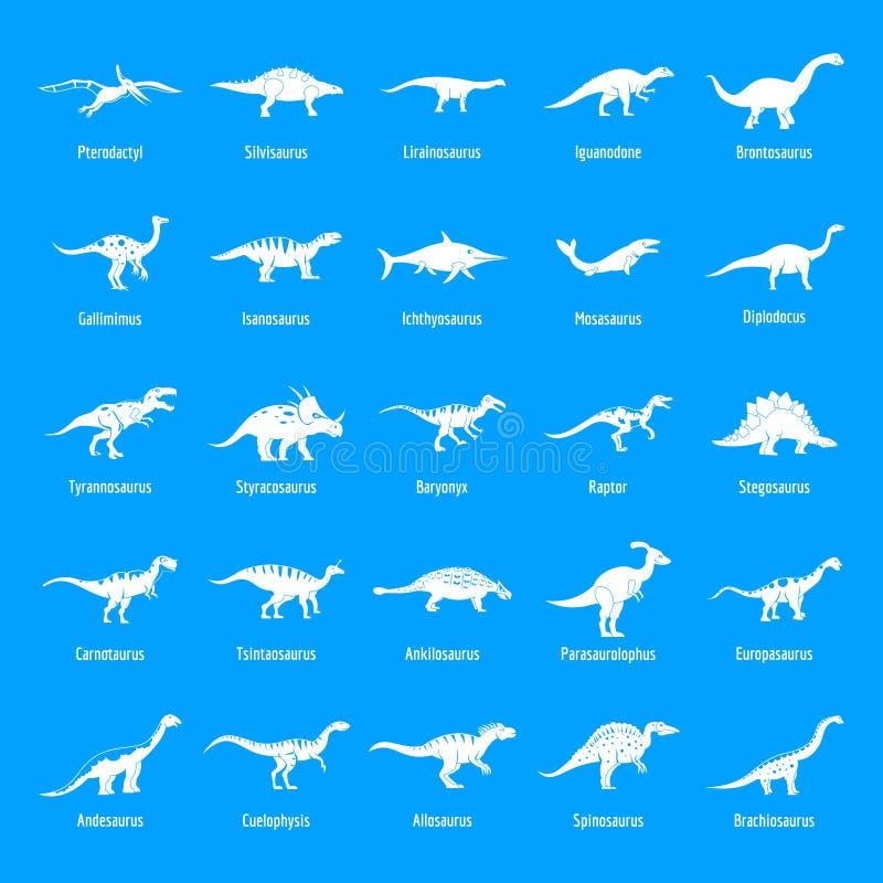 I tipi icone firmate del dinosauro di nome hanno messo, stile semplice royalty illustrazione gratis