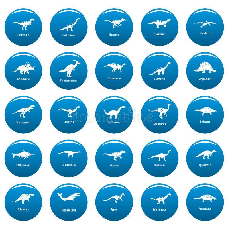 I tipi icone firmate del dinosauro di vettore di nome hanno fissato lo stile blu e semplice royalty illustrazione gratis