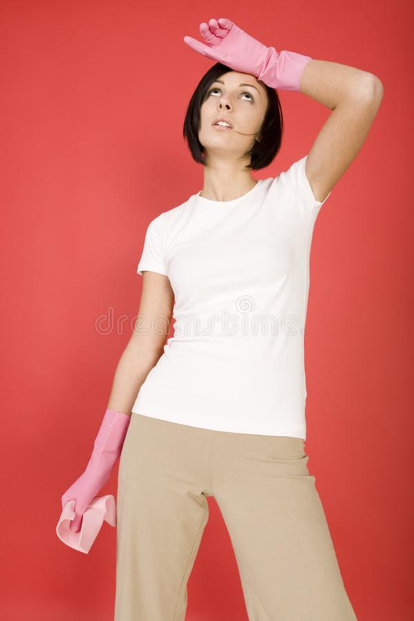 I am tired a housework stock image