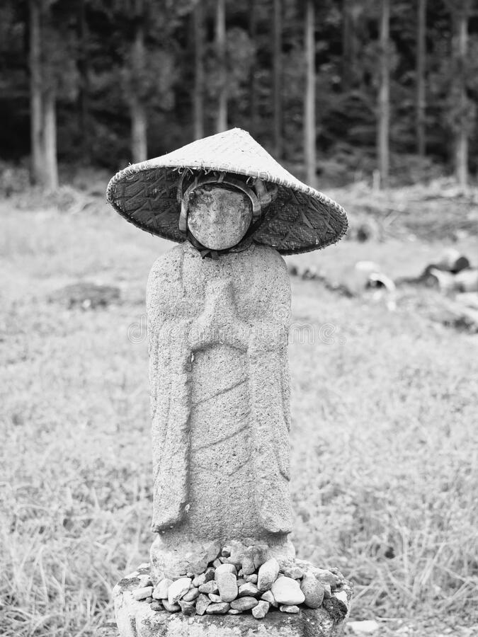Jjizo japan. I took a picture of Jizo on the roadside. I don`t know exactly when it was probably 300 years ago. Japan stock photo