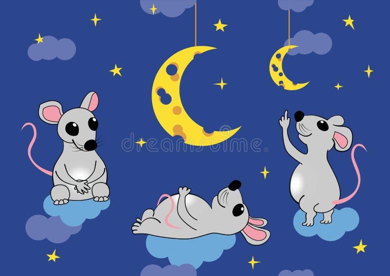 I topi ammirano la luna sotto forma di formaggio Illustrazione senza cuciture di vettore, ENV 8 illustrazione di stock