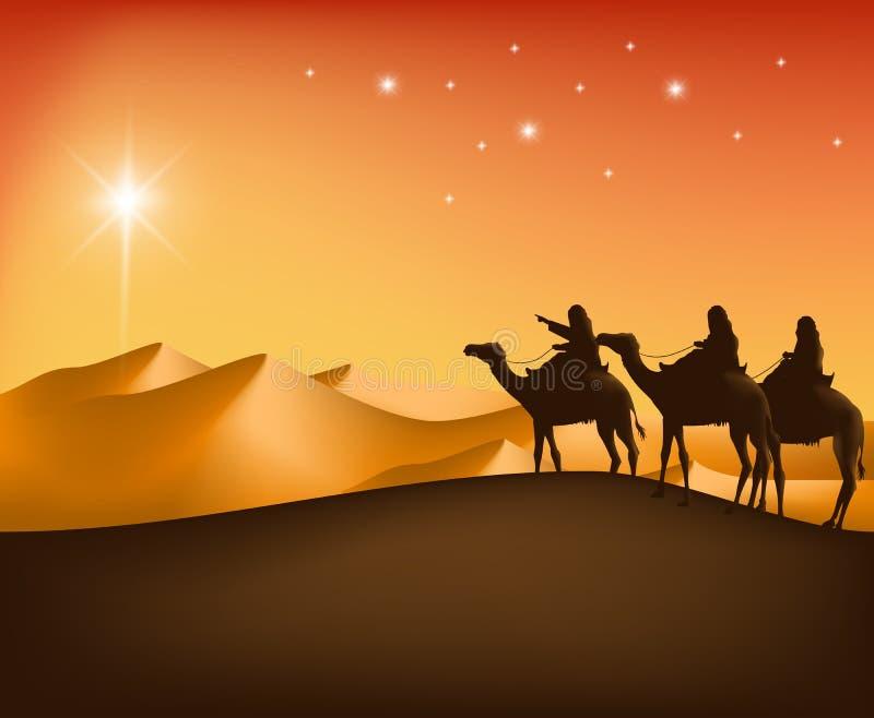 I tre re Riding con i cammelli nel deserto illustrazione vettoriale