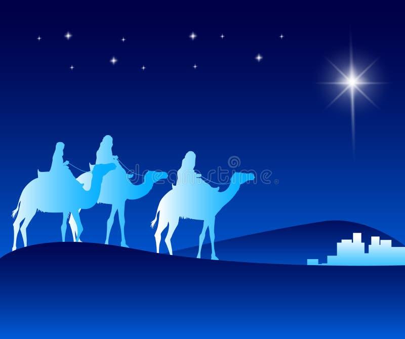 I tre re Riding con i cammelli nel deserto illustrazione di stock