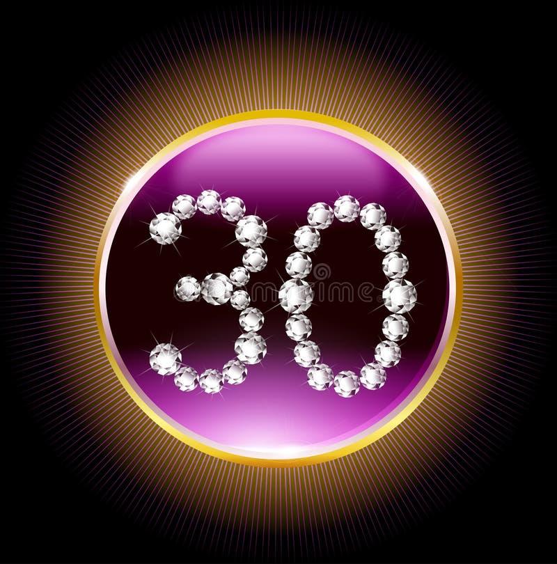 i trentesimi diamanti dell'invito della carta di anniversario di buon compleanno di anni numera royalty illustrazione gratis