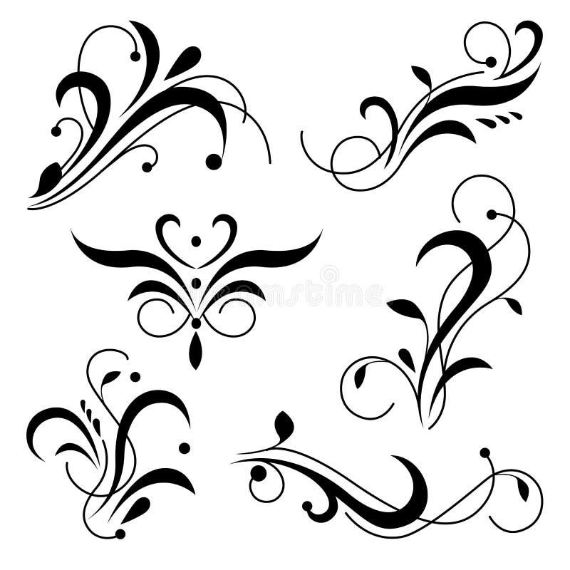 I turbinii reali dell'ornamento, fioriscono gli angoli ed i confini Elemento ornamentale classico di progettazione illustrazione vettoriale