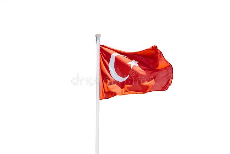 I turco diminuiscono sull'asta della bandiera isolata su fondo bianco fotografia stock libera da diritti