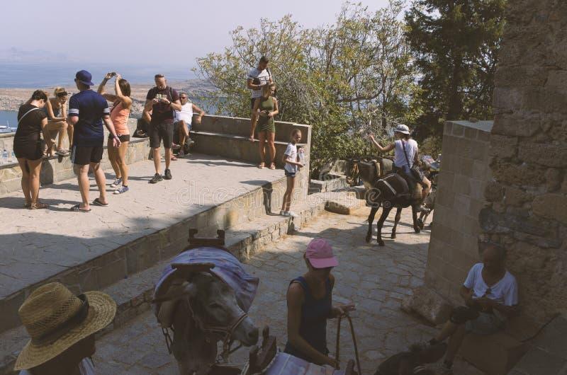 I turisti si rilassano e guidano gli asini in Lindos immagini stock libere da diritti