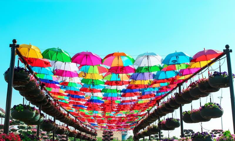 I UAE, DUBAI - novembre 2013: viale degli ombrelli multicolori luminosi nel giardino di miracolo, Dubai fotografie stock libere da diritti