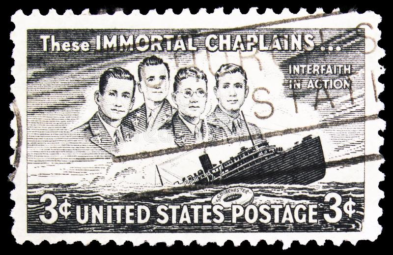 I USA finns fyra chaplainer och Sänkning S S Dorchester, 3 c - USA cent, serie, circa 1948 fotografering för bildbyråer