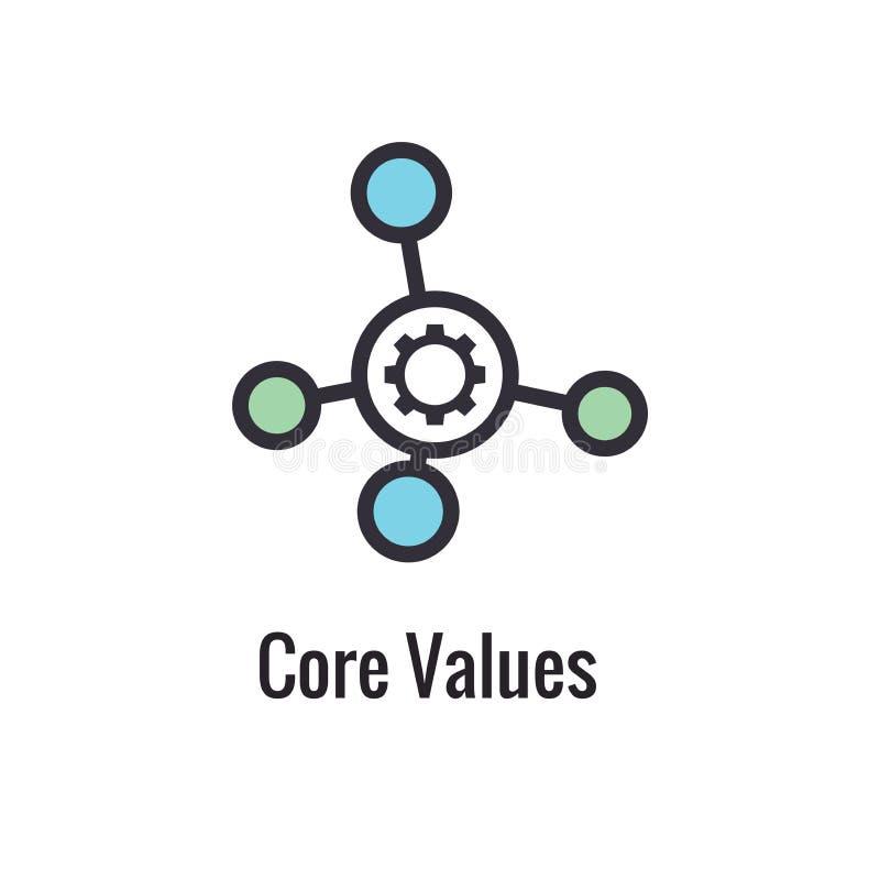 I valori del centro descrivono/linea icona che trasporta uno scopo specifico illustrazione vettoriale