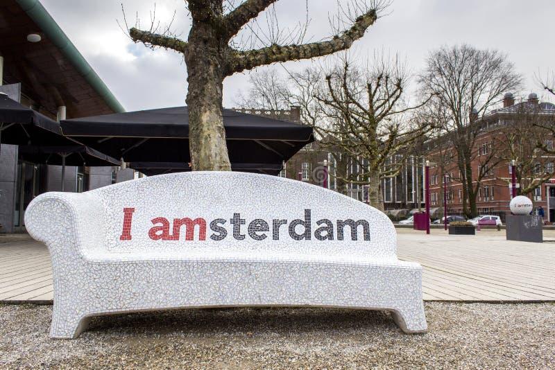 I van het de stads het stedelijke meubilair van Amsterdam welkome teken stock fotografie