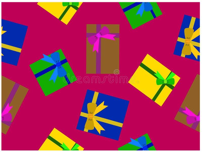I vari contenitori di regalo di colori Carta da parati senza cuciture di It's royalty illustrazione gratis