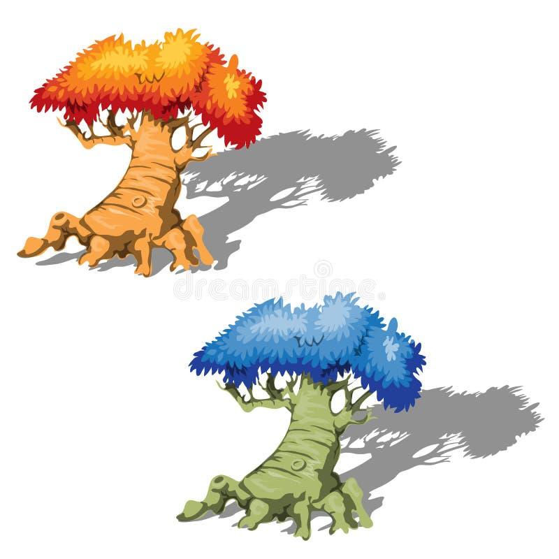 I vecchi alberi di fantasia con un blu e le corone dell'arancio isolate su fondo bianco Primo piano del fumetto di vettore illustrazione vettoriale