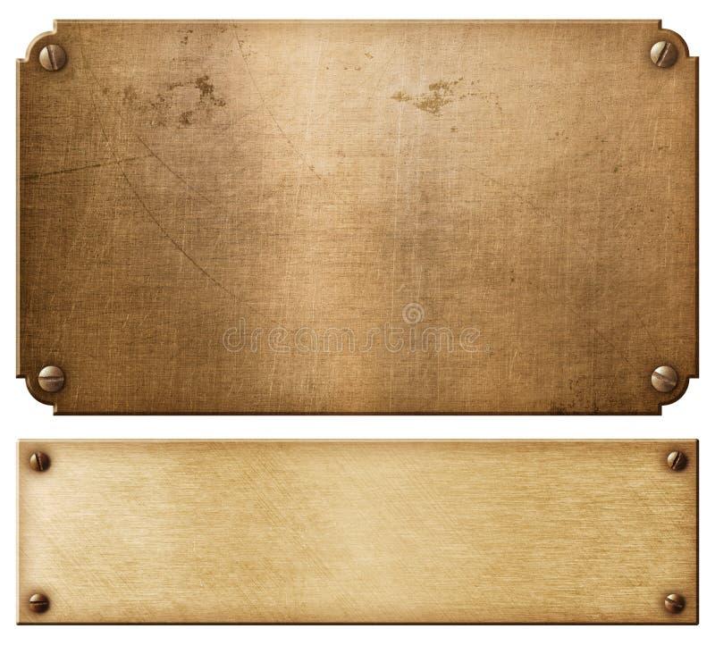 I vecchi piatti di metallo o nameboards di rame hanno messo con l'illustrazione dei ribattini 3d immagini stock libere da diritti