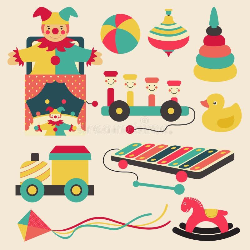 I vecchi retro giocattoli del bambino e l'icona piana dell'oggetto di carnevali del circo progettano illustrazione di stock