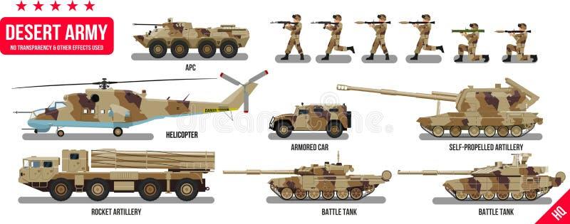 I veicoli militari dell'esercito di guerra hanno messo con il carro armato, l'artiglieria del razzo, l'elicottero, i soldati dei  illustrazione di stock