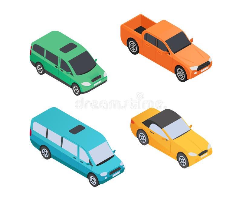 I veicoli scrive - a vettore moderno gli elementi variopinti isometrici royalty illustrazione gratis