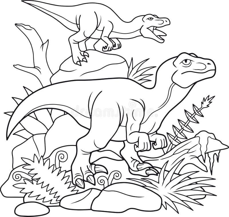 I Velociraptors raggruppano sono andato sulla caccia royalty illustrazione gratis