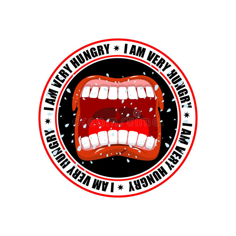 I am very hungry logo. Open mouth and teeth. Emblem for restaurant and cafe. Hunger is sign royalty free illustration