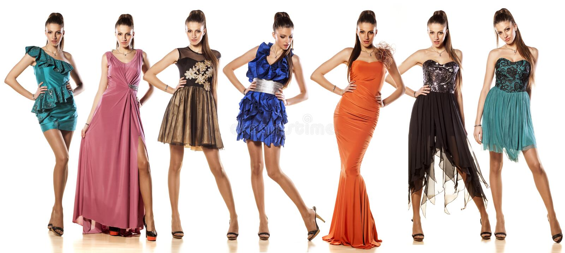 I vestiti da una donna-sette immagine stock