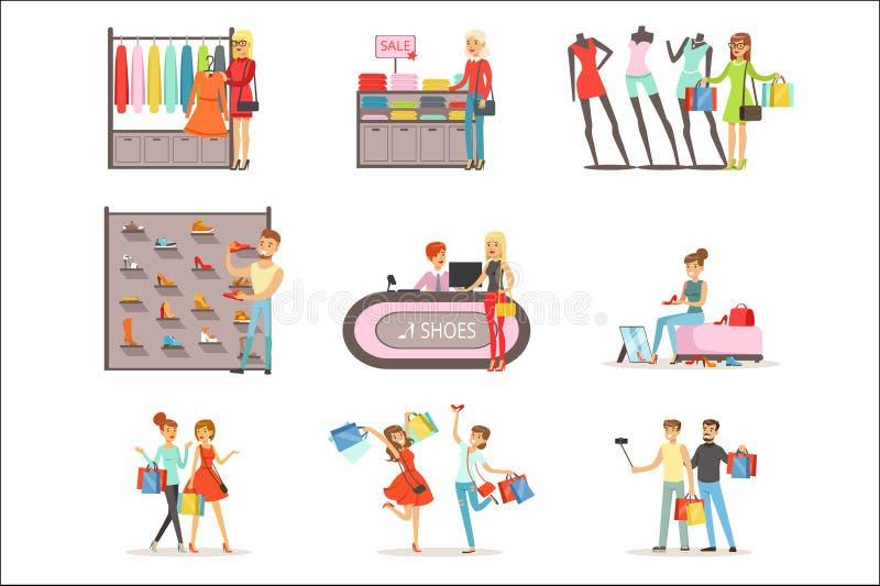 I vestiti della gente e le scarpe di compera e d'acquisto hanno messo, illustrazioni variopinte interne di vettore del negozio di royalty illustrazione gratis