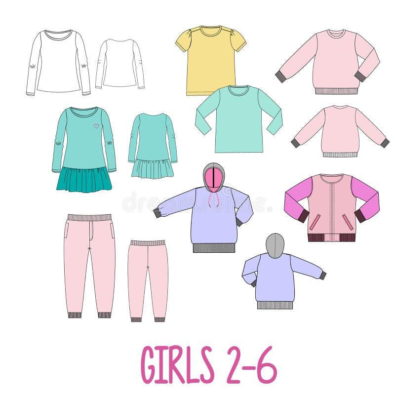 I vestiti delle ragazze hanno fissato gli schizzi tecnici illustrazione di stock