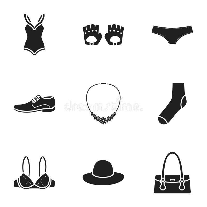 I vestiti hanno messo le icone nello stile nero La grande raccolta dei vestiti vector l'illustrazione di riserva di simbolo royalty illustrazione gratis