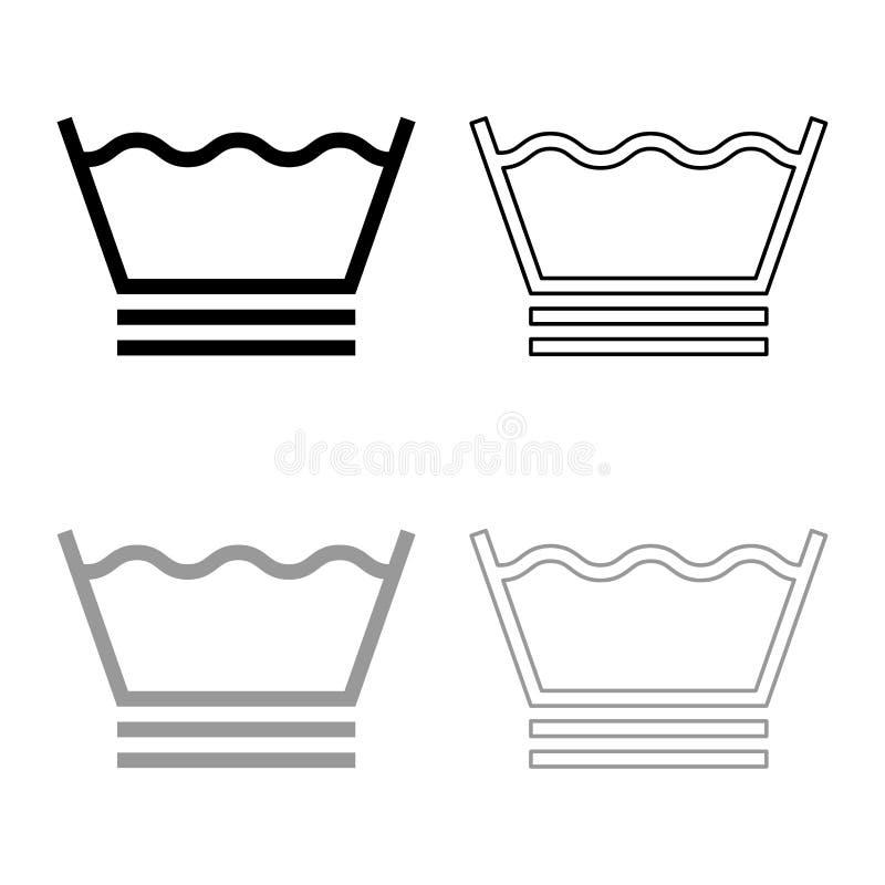 I vestiti molto delicati del lavaggio si preoccupano i simboli che lavano il profilo dell'icona del segno della lavanderia di con illustrazione vettoriale