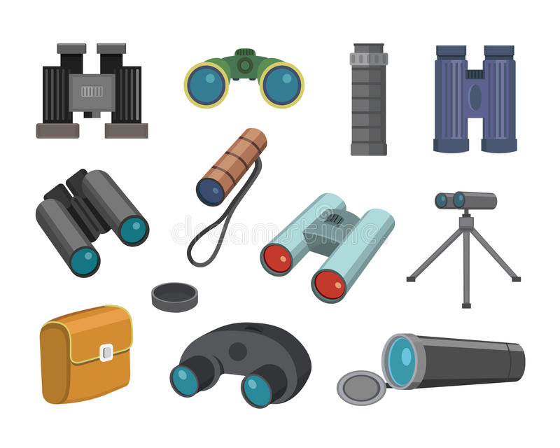 I vetri del binocolo sguardo-vedono isolato sull'illustrazione binoculare di vettore del fondo dei militari di viaggio di ricerca illustrazione vettoriale