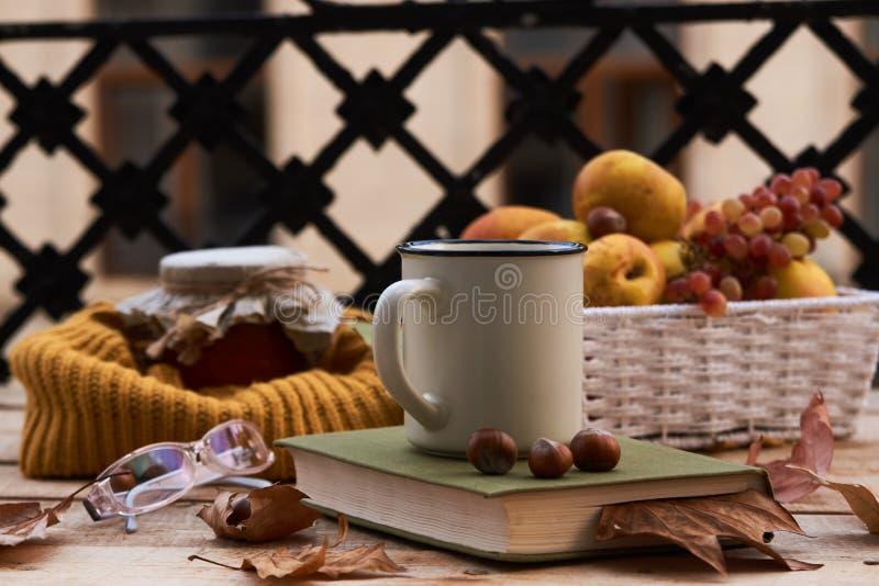 I vetri del vecchio libro della tazza di caffè e le foglie di autunno con frutta prendono il sole immagine stock