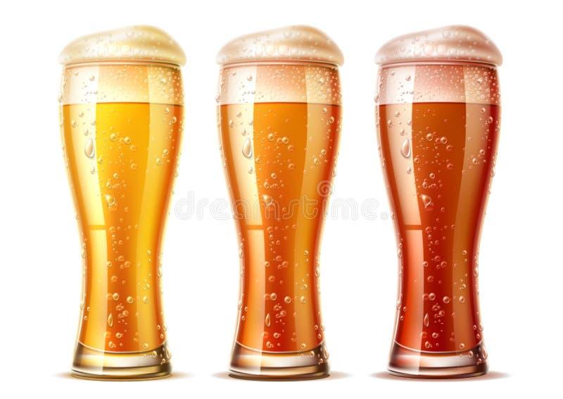 I vetri di birra realistici di vettore hanno messo la birra scura della lager illustrazione vettoriale