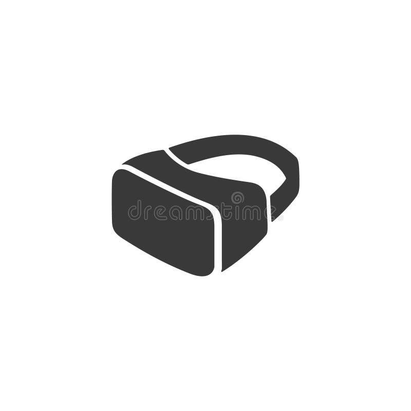 I vetri di VR, googla il segno di vettore della cuffia avricolare isolato su progettazione bianca e piana per il sito Web illustrazione di stock