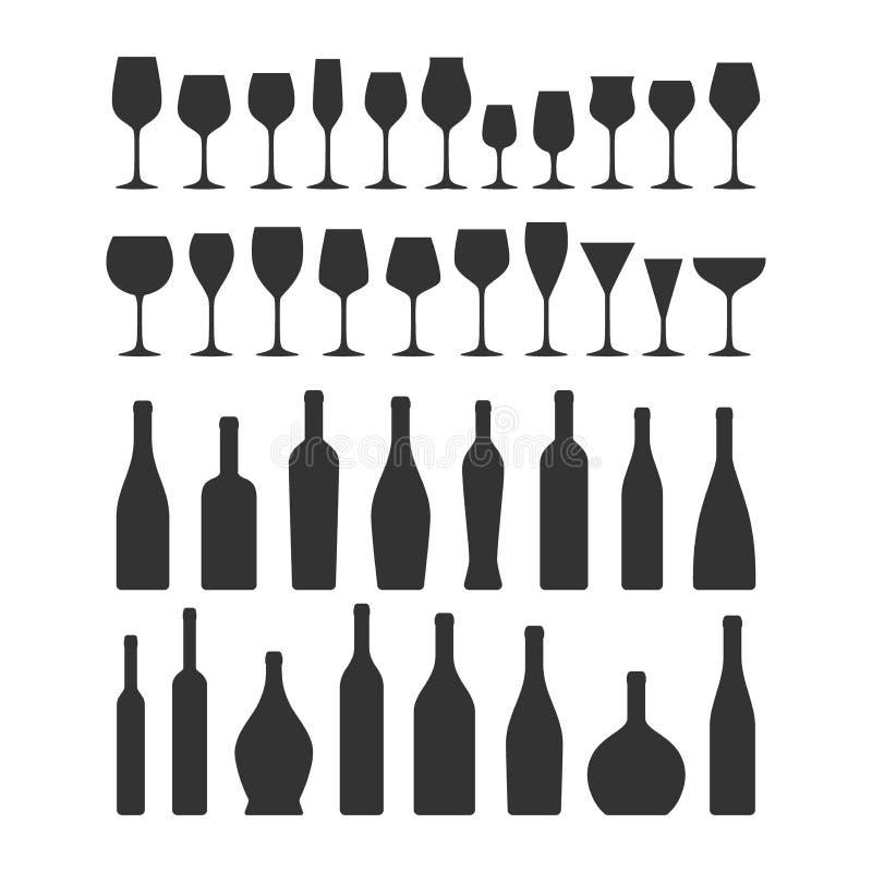I vetri e le bottiglie di vino vector le icone nere della raccolta della siluetta illustrazione vettoriale