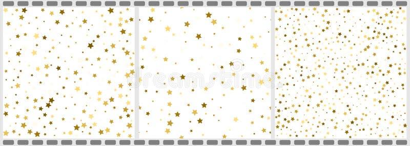 I vettori della struttura di natale dei coriandoli delle stelle di volo dell'oro hanno messo, premio illustrazione vettoriale