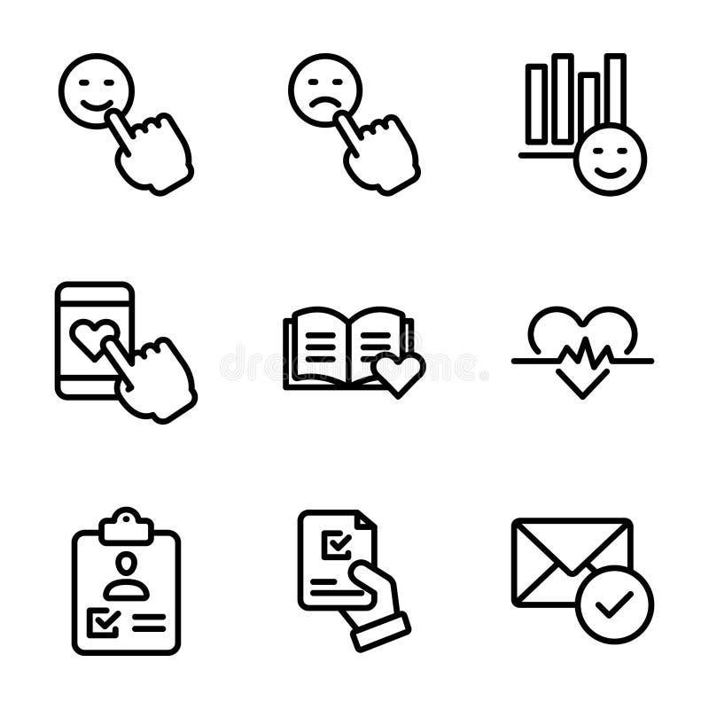 I vettori emozionali della lista di controllo e di opinione imballano illustrazione di stock