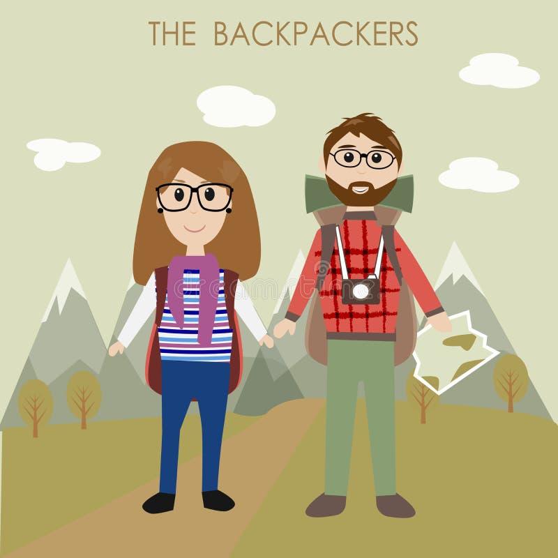 I viaggiatori con zaino e sacco a pelo delle coppie illustrazione vettoriale