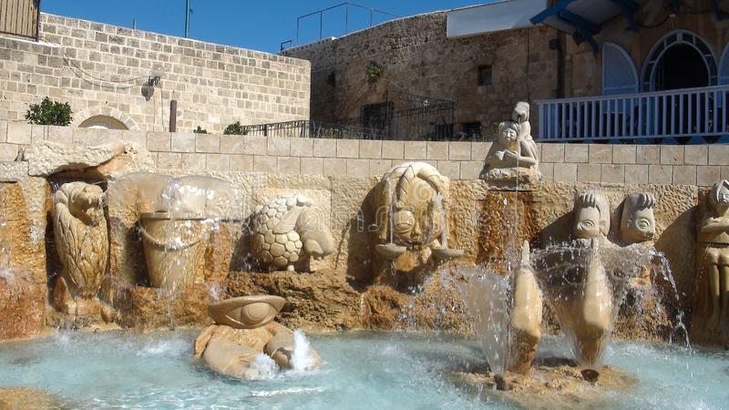 I vicoli dello zodiaco, segni astrologici della fontana, vecchia città di Giaffa, Tel Aviv fotografie stock libere da diritti