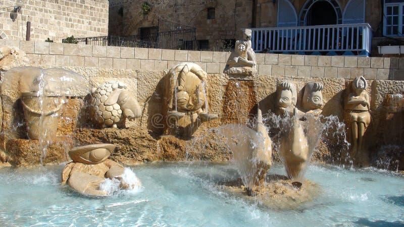 I vicoli dello zodiaco, segni astrologici della fontana, vecchia città di Giaffa, Tel Aviv fotografie stock