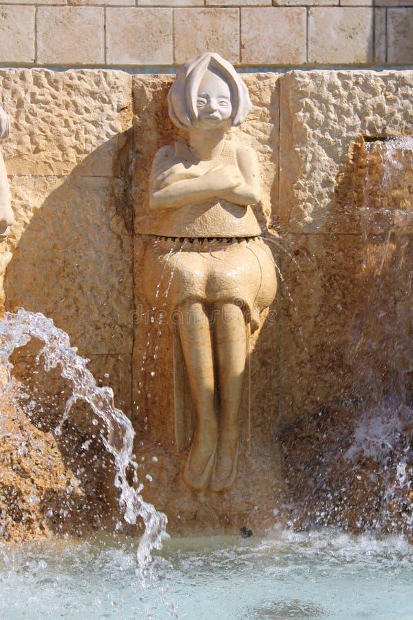 I vicoli dello zodiaco, segni astrologici della fontana, vecchia città di Giaffa, Tel Aviv fotografia stock libera da diritti