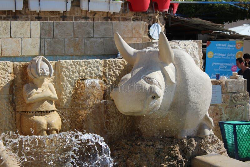 I vicoli dello zodiaco, segni astrologici della fontana, vecchia città di Giaffa, Tel Aviv immagine stock