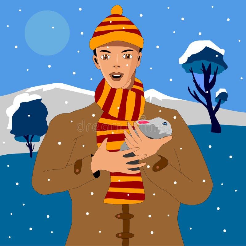 I vinter den unga mannen i vinterkläder som rymmer en kanin stock illustrationer