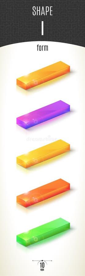 I-vorm glanzend 3D-deel op witte die achtergrond in verschillende kleuren wordt geplaatst stock foto
