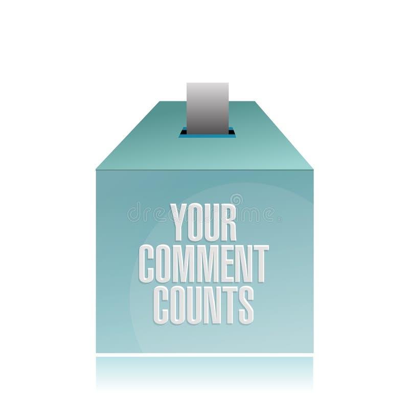I vostri conteggi di commento illustrazione della scatola di suggerimento illustrazione di stock